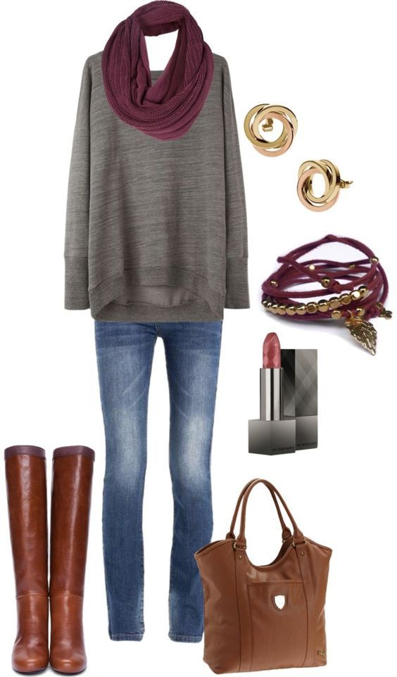 #fall #outfits / Grey Longsleeve + Red Scarf