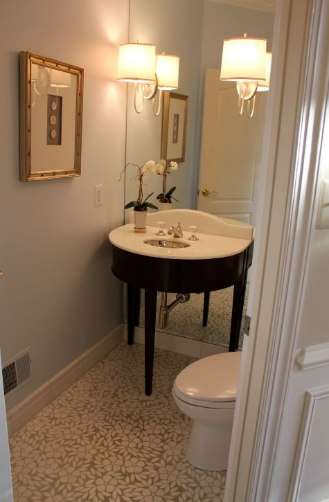 My Notting Hill: Anne's Windowless Powder Room Transformed small space solution: mirrored wall behind vanity