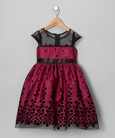 Take a look at this Fuchsia & Black Polka Dot Dress - Toddler & Girls by Chic Baby on #zulily today!
