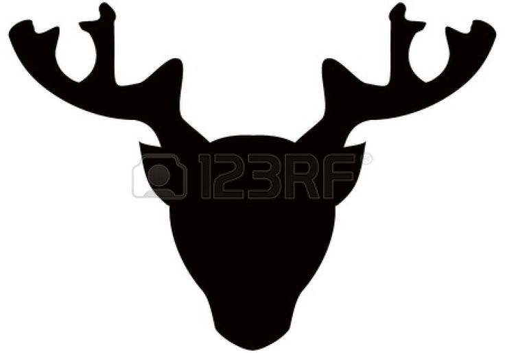Gestileerde hoofd van herten, zwarte silhouet