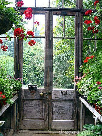 Closed door in a secret garden, Botanic Garden, Cambridge