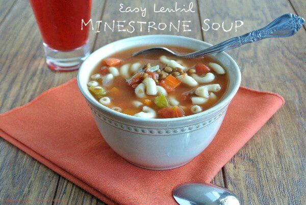 Easy Lentil Minestrone Soup is a little bit of a change-up from original minestrone soups in that it uses lentils instead of beans. Now you get extra protein along with lots of wonderful flavor. Easy, easy, easy.