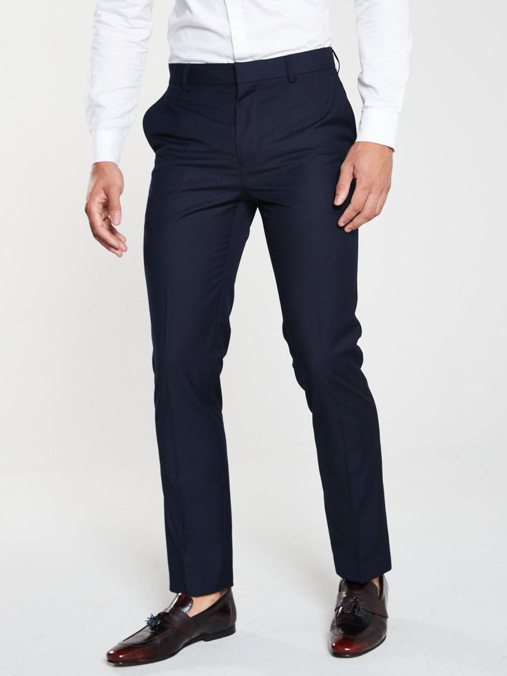 V By Very Pv Stretch Regular Suit Trousers – Navy