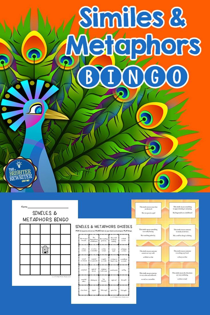 Similes and Metaphors Bingo will help your students review the meanings of common similes and metaphors while playing a fun game!