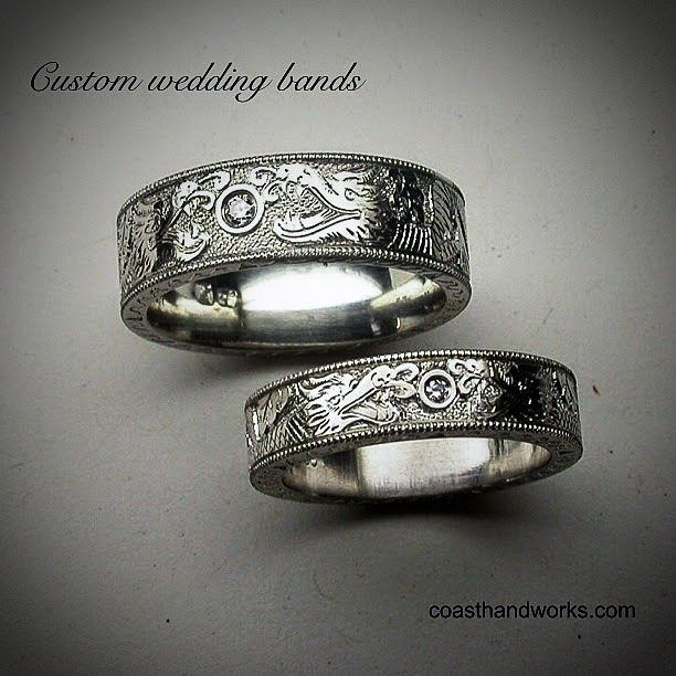 """323 Likes, 7 Comments - Warren Smith (@coasthandworks) on Instagram: """"More wedding bands out of the ordinary. . #handengraver #handengraving #handengraved #canada🇨🇦…"""""""