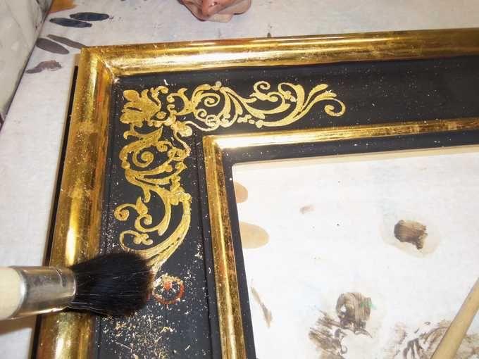 <b>CORSO BASE DI DORATURA A GUAZZO 40 ORE</b> - pulitura dell'eccesso di foglia oro