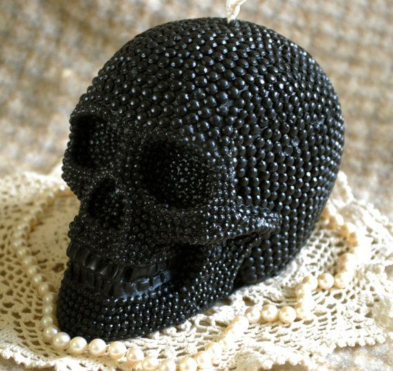 giant black beeswax skull candle with seed pearl texture $34.50 <3's #Gothic #Candle #Decor