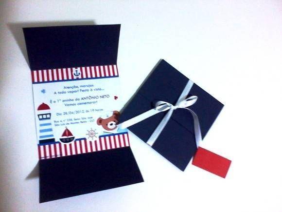 Convite-envelope num só produto. Pode ser feito em qualquer tema e cor.  Para a tag personalizada com o nome do convidado, acrescentar R$ 0,50 em cada convite.  Para a tag personalizada com o nome do convidado, acrescentar R$ 0,50 em cada convite.  Pedido mínimo: 30 unidades. Para quantidades menores, consultar valor. R$ 4,30