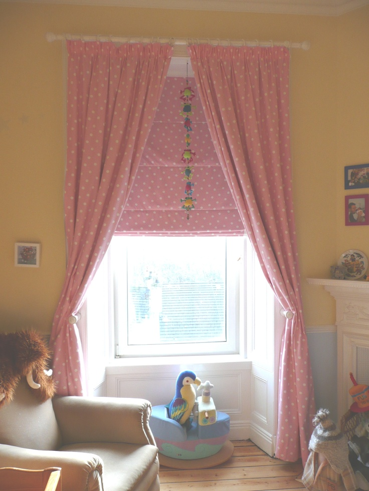 Pink nursery curtains roman blind navy blue pink for Curtains for the bedroom ideas