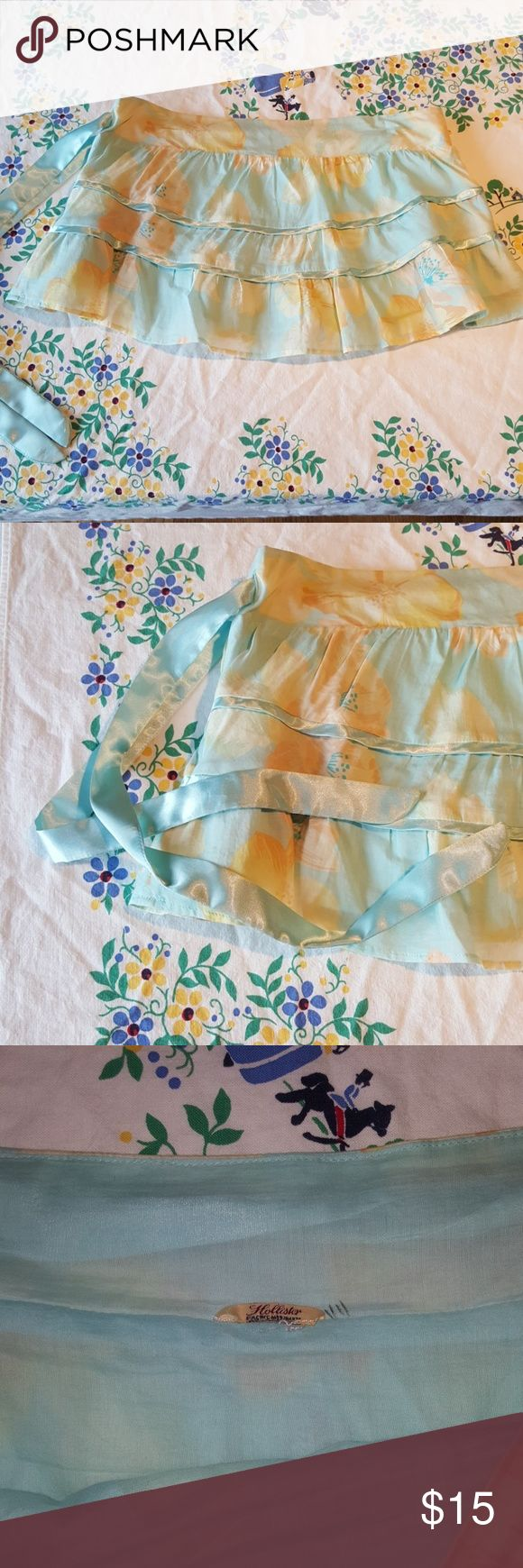 Hollister micro mini skirt This adorable skirt is super sweet in pastel floral print, but also a little naughty in being very short! Fully lined. Size tag missing, but fits like a junior L/XL. Measurements shown in pics. EUC, no stains. Hollister Skirts Mini