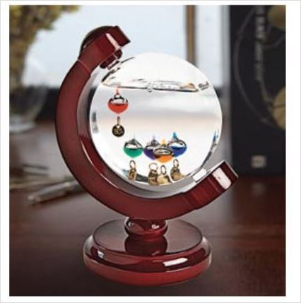 Galileo Thermometer With Stand Climate Glass Wood