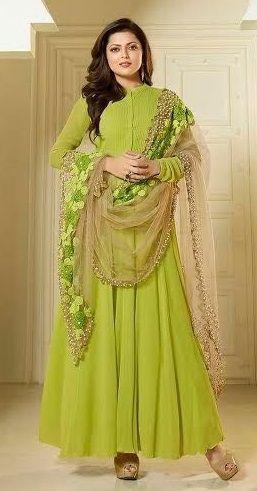 Price @4417.00 INR  Colour : Parrot Green  Top : Georgette With Santoon Inner  Bottom : Santoon  Dupatta : Net  Work : Heavy embroidery