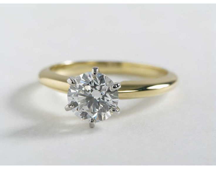 Six Prong Yellow Gold Engagement Ring