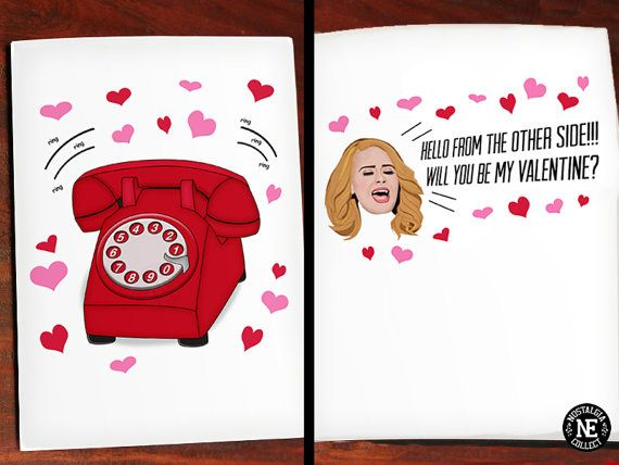 Adele Hello Valentines Day Greeting Card Funny by NostalgiaCollect