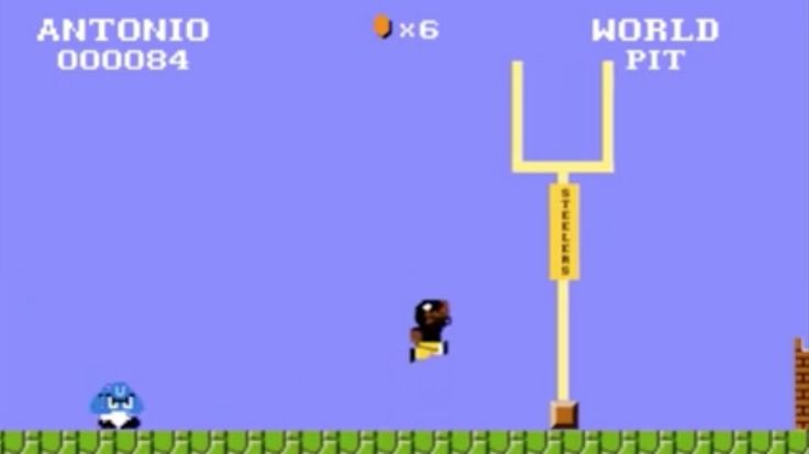 Pittsburgh Steelers star Antonio Brown torched the Colts on a 71-yard punt return for a touchdown Sunday, and celebrated reaching the endzone by running full speed into the goalpost like ... Mario ...