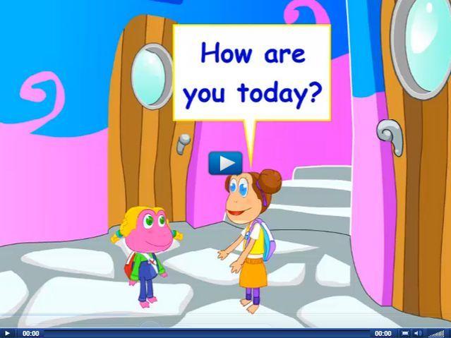 Engels leren aan kleuters met het digibord , kleuteridee.nl . good morning, how are you, I'm fine, thanks.