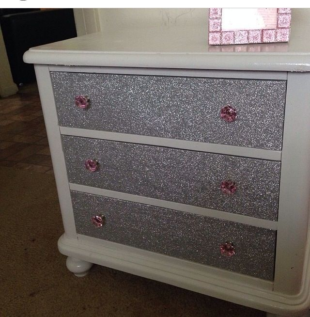 Glitter nightstand glitter furniture pinterest glitter glitter paint and pink Cheap wood paint