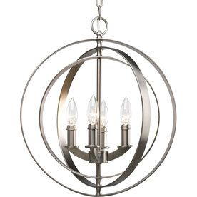 Progress Lighting Equinox 16-In 4-Light Burnished Silver Globe Chandel