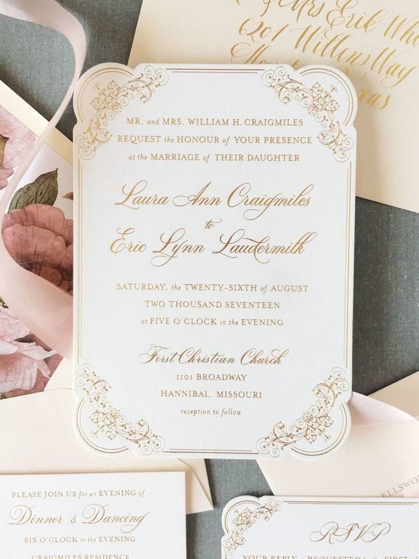 Classic Wedding Invitations - White And Gold Invites {On Three
