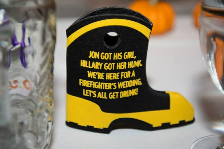 Koozie favor at a firefighters wedding