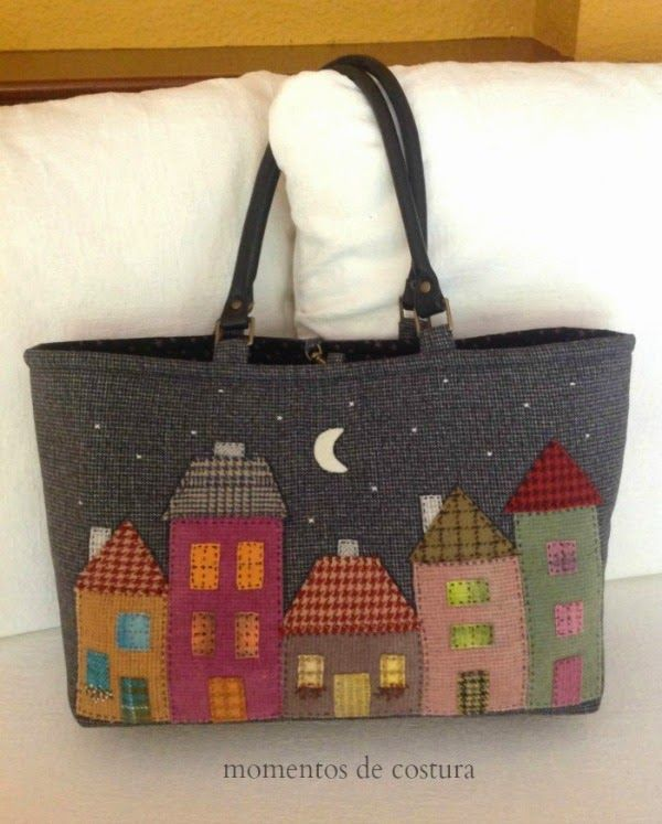 Wool bag with applique houses