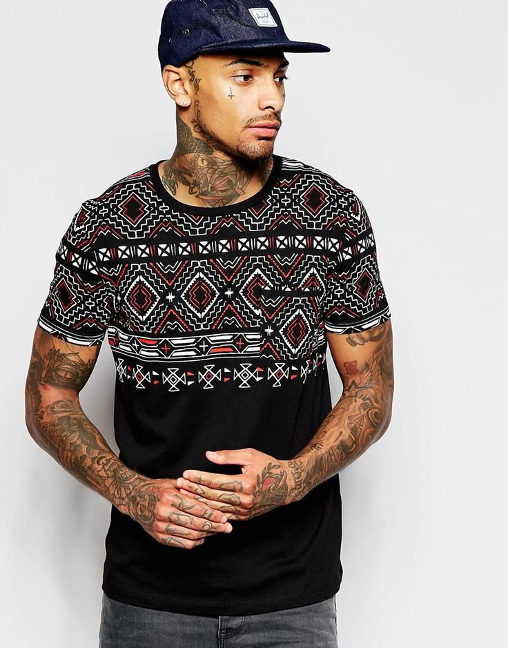 Image 1 of ASOS T-Shirt With Aztec Print Yoke And Pocket