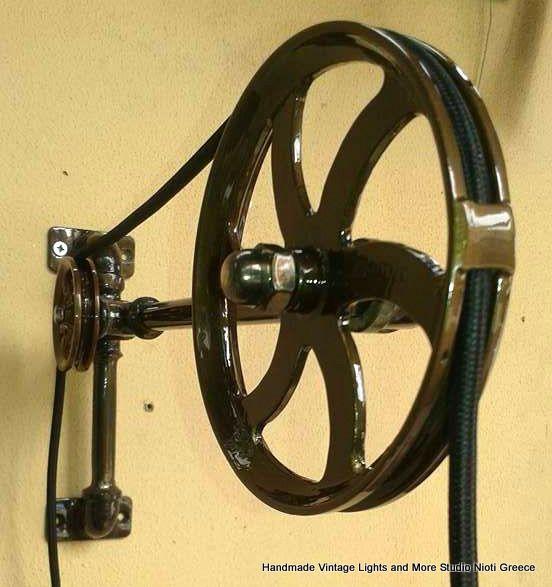 STUDIO NIOTIS: Vintage χειροποίητο φωτιστικό απλίκα με ράουλα & κ...