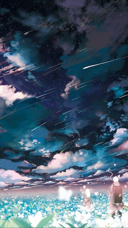 Anime Mushishi Cloud Flower Landscape Shooting Star Night