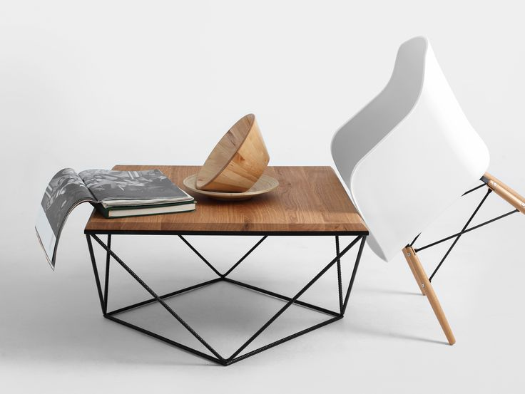 Adorable metal and wooden coffe table and modern chair. Design from love.