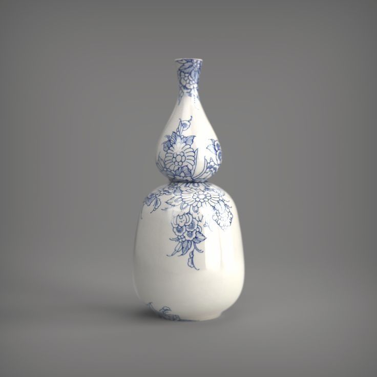 Royal Delft Touch of Blue double vase - rendered in KeyShot by Eric Altorf