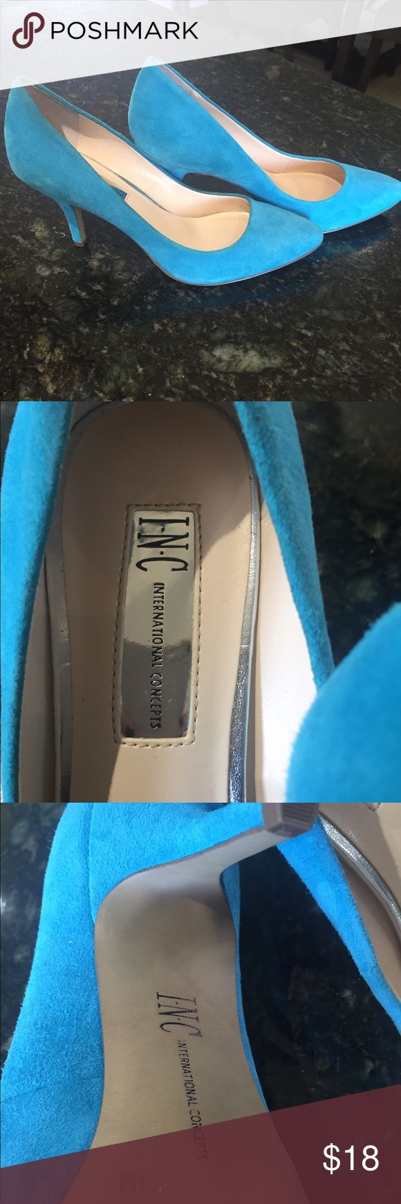 Blue Suede INC Pumps Size 8 never worn ! Blue Suede INC Pumps never worn bought at Macy's still has the size 8 sticker on the bottom. INC International Concepts Shoes Heels