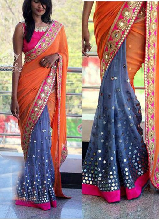 Orange And Gray Mirror Work Fancy Desgner #Saree#beautiful #new_arrival #Latest