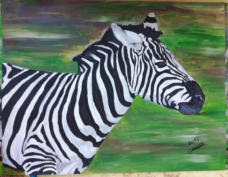 Dessin Peinture acrylique animalière animal zebre 50x65 cm de la boutique vanspeygalleryart sur Etsy