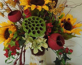 "25"" país florales girasol Fall - Otoño jarra arreglo"