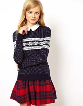 Image 1 of ASOS Holiday Sweater In Snowflake Pattern With Collar