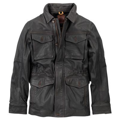 Timberland Men's Mount Major Leather Field Jacket (Cocoa)