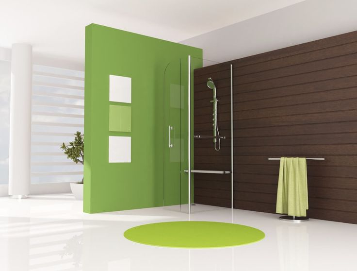 Green Accent Wall With Walk-In Shower