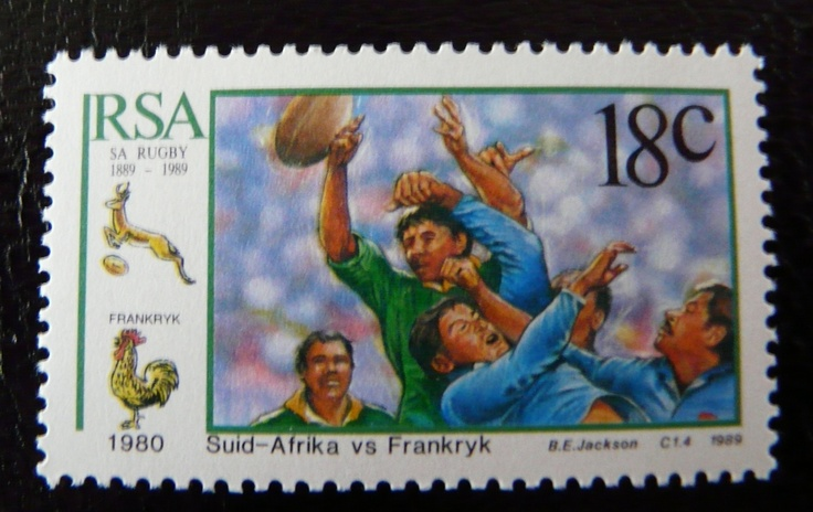 Rugby stamp from South Africa Springboks - France  For more #rugby collectables check out my blog http://r0cky-rugby.blogspot.com
