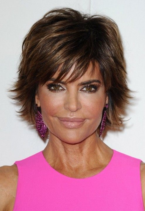 short layered hairstyles with bangs | Picture of Lisa Rinna Layered Short Razor Cut with Bangs for women ...