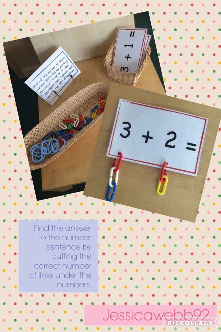 Find the answer to the number sentence by putting the correct number of links under each number and counting them all together. EYFS