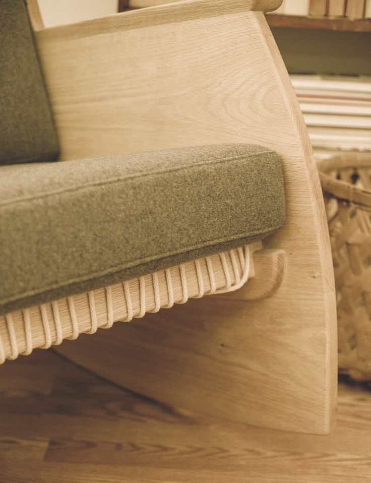 Detail of my Rook Rocking Chair. Solid oak and cotton webbing with local upholstery.