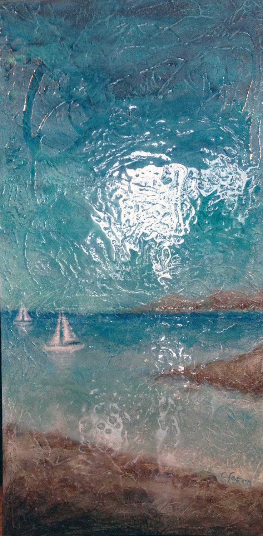 Côte d'Azur, médium mixte, 24 x 48, Catherine Fagnan, artiste peintre, www.catherinefagnan.com