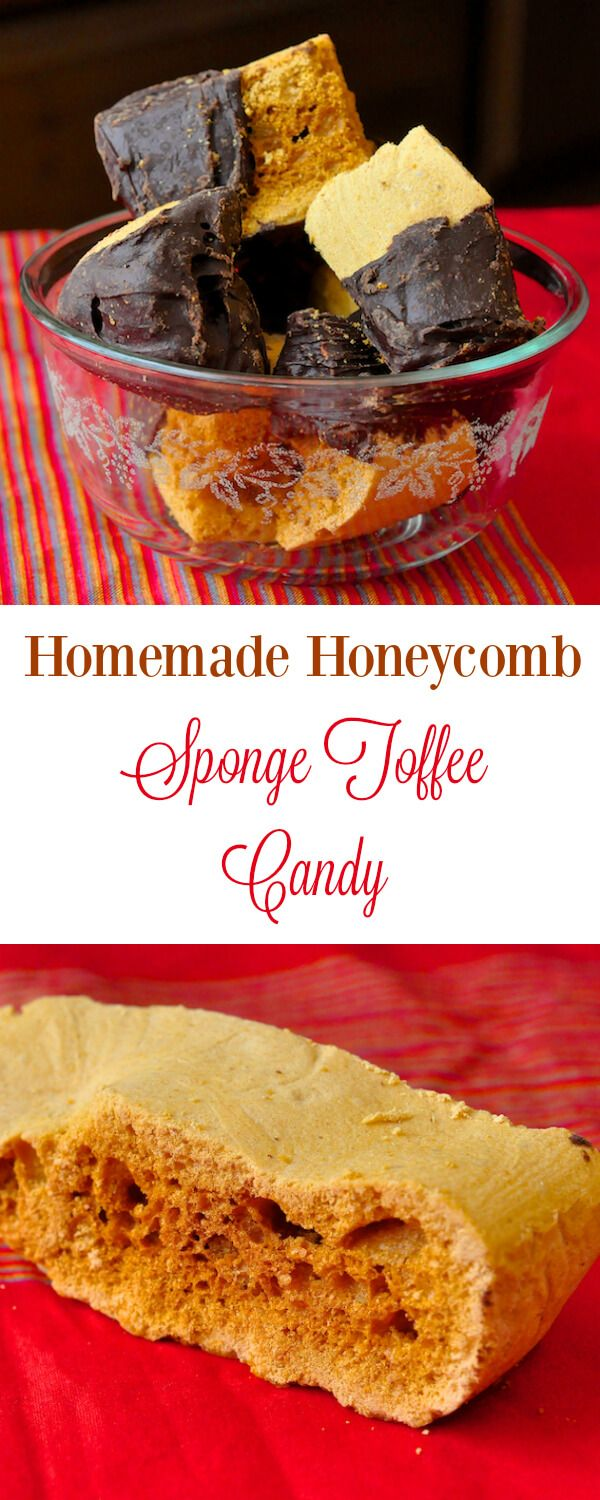 Homemade Honeycomb Sponge Toffee Candy - an easy homemade candy recipe that you can dip in chocolate for a homemade version of a Crunchie Bar.