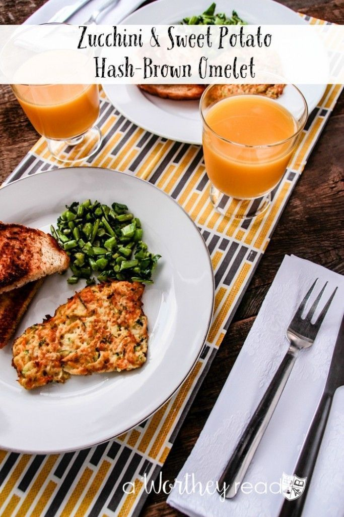 Easy and healthy breakfast idea, that's also Paleo approved! Grab this recipe and pin it- Zucchini & Sweet Potato Hash-Brown Omelet