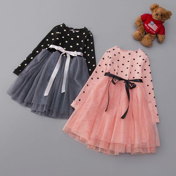 Baby Girl Dot Princess Dress 2-8 Years Kids Long Sleeve Spring & Autumn Dresses for Toddler Girl Children Mesh Fashion Clothing #Affiliate