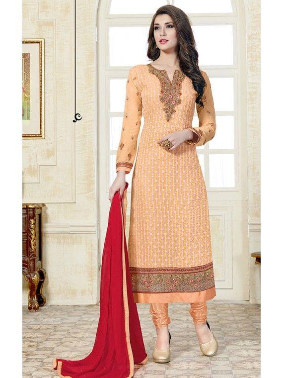 Glittering Light Peach Orange Embroidered Salwar suit