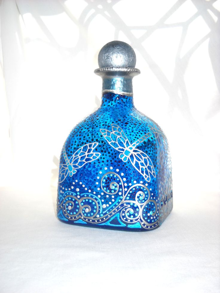 Silver Dragonfly Art on Glass Hand Painted Patron Bottle Decanter Sapphire Blue, Message in a Bottle