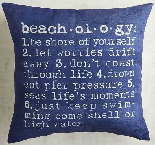 Beachology Pillow | Beach Bliss Designs: http://www.beachblissdesigns.com/2017/02/beachology-pillow.html