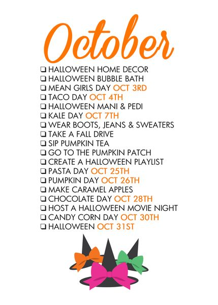 October Seasonal Living List