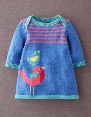 Inspiration only @BodenClothing My Baby Knitted Dress Mid Blue Bird ......... very cute!